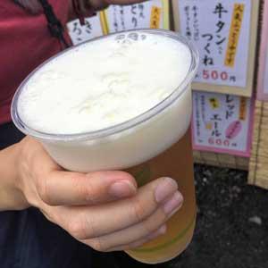 フジロック2018・3日目。五平餅屋のコシヒカリ生ビール